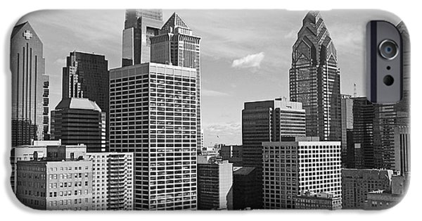 Black White iPhone Cases - Downtown Philadelphia iPhone Case by Rona Black