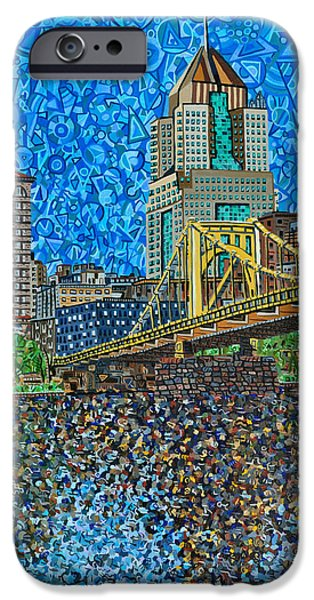 Clemente Paintings iPhone Cases - Downtown Pittsburgh - Roberto Clemente Bridge iPhone Case by Micah Mullen