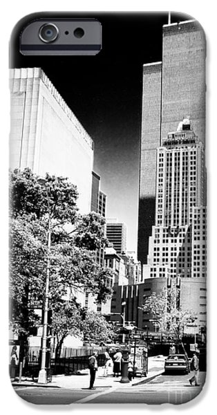 Twin Towers Nyc iPhone Cases - Downtown Views 1990s iPhone Case by John Rizzuto