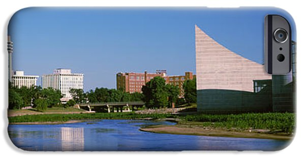 Arkansas iPhone Cases - Downtown Wichita Viewed From The Bank iPhone Case by Panoramic Images