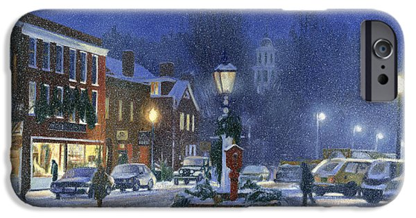 Snowy Night iPhone Cases - Downtown Woodstock iPhone Case by Candace Lovely