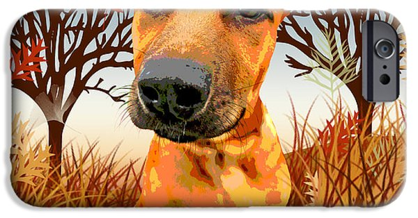 Cute Puppy iPhone Cases - Dozer Whimsy iPhone Case by Jamie Pflughoeft