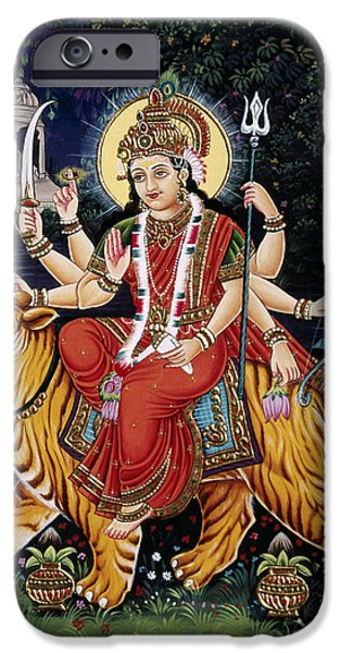 Goddess Durga iPhone Cases - Goddess Durga riding tiger iPhone Case by Dpa-bdr-15