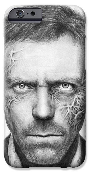 Black Portrait Drawings iPhone Cases - Dr. Gregory House - House MD iPhone Case by Olga Shvartsur