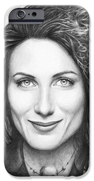 Celebrity Drawings iPhone Cases - Dr. Lisa Cuddy - House MD iPhone Case by Olga Shvartsur