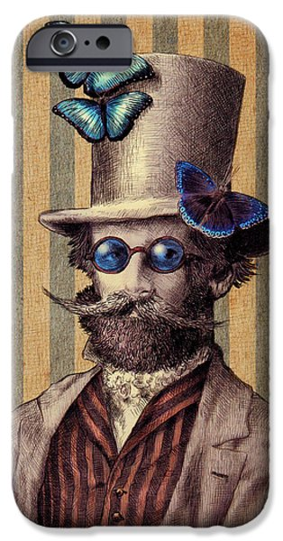Insects Drawings iPhone Cases - Dr. Popinjay iPhone Case by Eric Fan