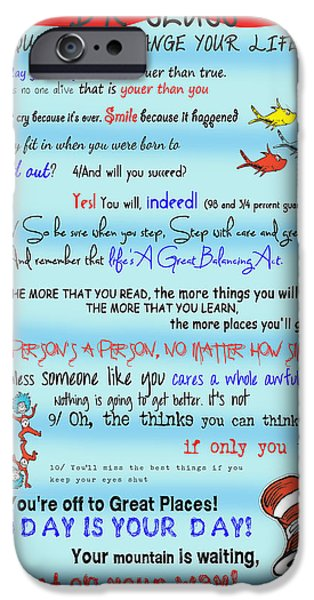 Hat iPhone Cases - Dr Seuss - Quotes to Change Your Life iPhone Case by Georgia Fowler