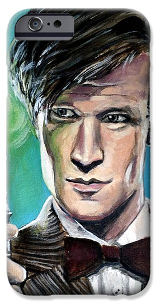 Dr Who iPhone Cases - Dr Who #11 - Matt Smith iPhone Case by Tom Carlton