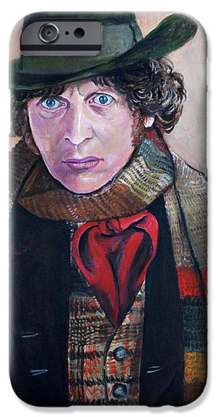 Dr Who iPhone Cases - Dr Who #4 - Tom Baker iPhone Case by Tom Carlton