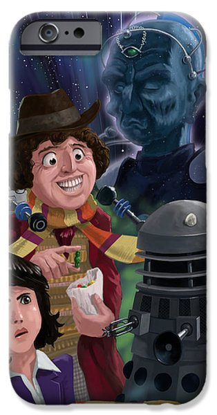 Dr Who iPhone Cases - Dr Who 4th doctor Jelly Baby iPhone Case by Martin Davey