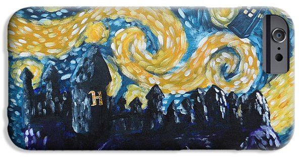 Police iPhone Cases - Dr Who Hogwarts Starry Night iPhone Case by Jera Sky