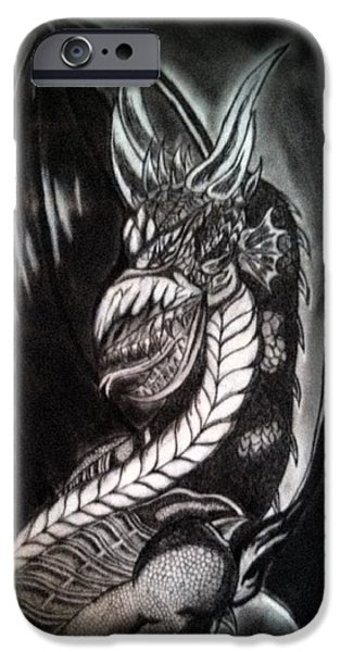 Serpent iPhone Cases - Draco the Black Dragon iPhone Case by Cameron H Brewer