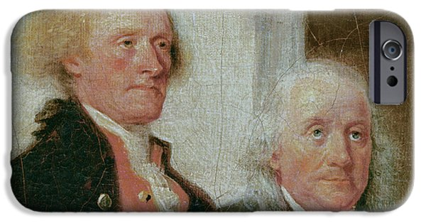 Politician Photographs iPhone Cases - Drafting The Declaration Of Independence, 28th June 1776, Detail Of Thomas Jefferson 1743-1826 iPhone Case by John Trumbull
