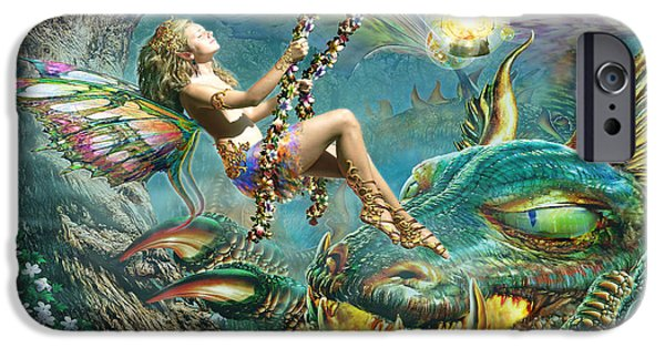 Night Lamp iPhone Cases - Dragon and Fairy Swing iPhone Case by Adrian Chesterman
