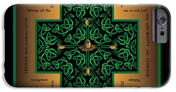 Celtic Knotwork iPhone Cases - Dragon Egg Celtic Cross iPhone Case by Celtic Artist Angela Dawn MacKay