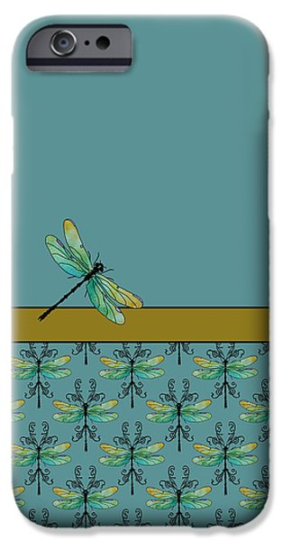 Dragonfly iPhone Cases - Dragon Fly Nouveau iPhone Case by Jenny Armitage