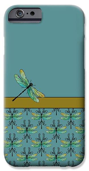Dragon Fly Nouveau iPhone Case by Jenny Armitage