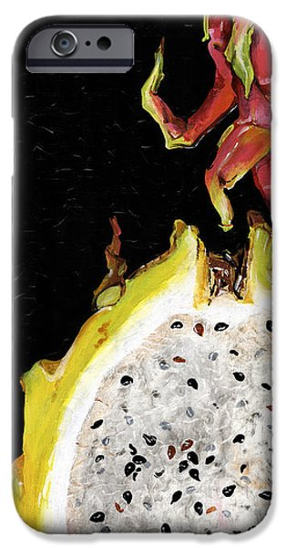 Tuan iPhone Cases - dragon fruit yellow and red Elena Yakubovich iPhone Case by Elena Yakubovich