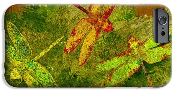 Painter Photo Digital Art iPhone Cases - Dragonflies Abound iPhone Case by Jack Zulli