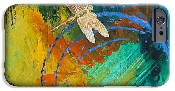 Gold Pastels iPhone Cases - Dragonfly Abstract iPhone Case by Tracy L Teeter