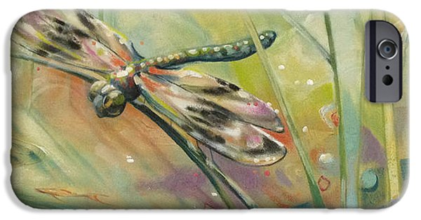 Digital Paintings iPhone Cases - Dragonfly iPhone Case by Barbara Hranilovich