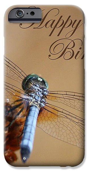 Dragonfly Birthday Card iPhone Case by Carol Groenen