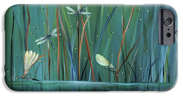 Greens iPhone Cases - Dragonfly Diner iPhone Case by Carol Sweetwood