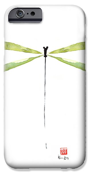 Jewelry Greeting Cards iPhone Cases - DRAGONFLY Green Jewel Forest Jewelry Lake Water watercolor painting    iPhone Case by Johana Szmerdt