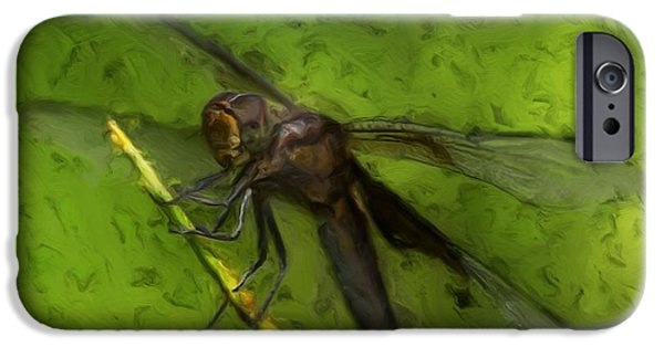 Painter Photo Digital Art iPhone Cases - Dragonfly Macro iPhone Case by Jack Zulli