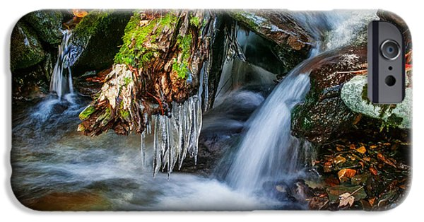 Tree Roots Photographs iPhone Cases - Dragons Teeth Icicles Waterfall Great Smoky Mountains Painted  iPhone Case by Rich Franco