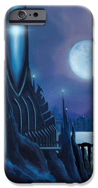 Thunder Paintings iPhone Cases - DragonTown iPhone Case by James Christopher Hill