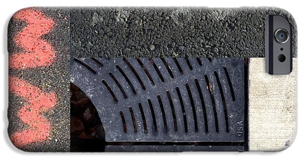 Asphalt iPhone Cases - Drains to Sound iPhone Case by Nancy Merkle