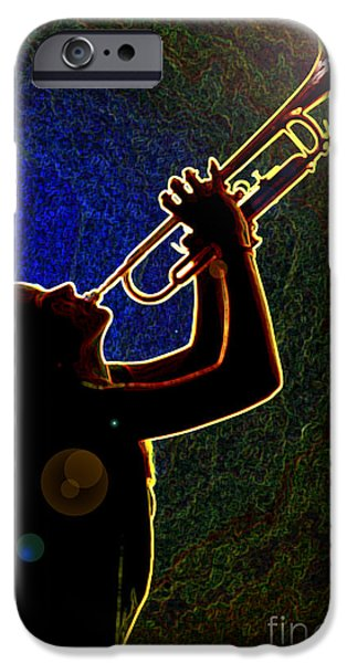 Business Drawings iPhone Cases - Drak Drawing Silhouette Trumpet Music Instrument and Girl 3016.0 iPhone Case by M K  Miller