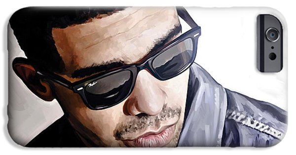 Hip-hop iPhone Cases - Drake Artwork 1 iPhone Case by Sheraz A
