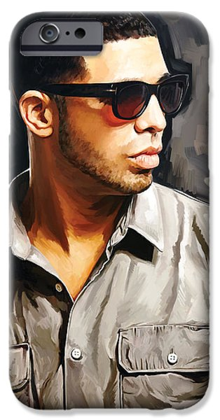 Hip-hop iPhone Cases - Drake Artwork 2 iPhone Case by Sheraz A