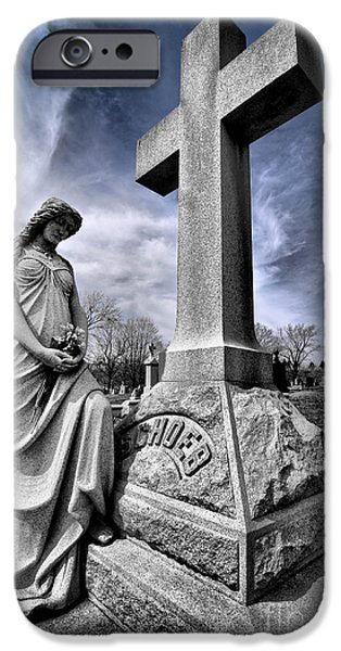 Headstones iPhone Cases - Dramatic gravestone with cross and guardian angel iPhone Case by Amy Cicconi