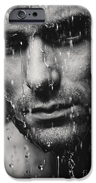 Shower Head iPhone Cases - Dramatic portrait of man wet face Black and white iPhone Case by Oleksiy Maksymenko