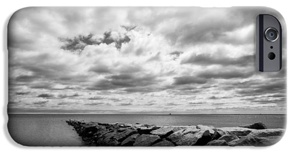 Monotone iPhone Cases - Dramatic Sky at Penfield Jetty iPhone Case by Stephanie McDowell