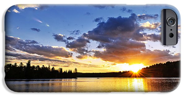 Algonquin iPhone Cases - Dramatic sunset at lake iPhone Case by Elena Elisseeva