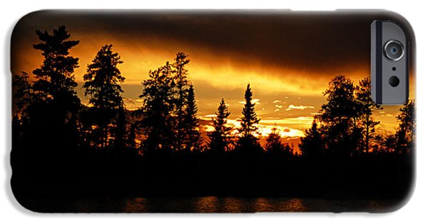 Canoe iPhone Cases - Dramatic Sunset iPhone Case by Larry Ricker