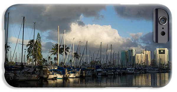 Sailboat Ocean iPhone Cases - Dramatic Tropical Storm Light Over Honolulu Hawaii  iPhone Case by Georgia Mizuleva