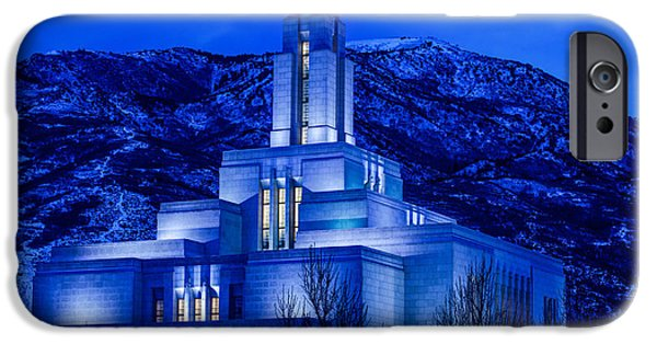 Angel Moroni iPhone Cases - Draper Mormon LDS Temple Winter Dusk iPhone Case by Gary Whitton