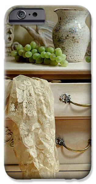 Still Life With Old Pitcher iPhone Cases - Drawer of Lace iPhone Case by Diana Angstadt