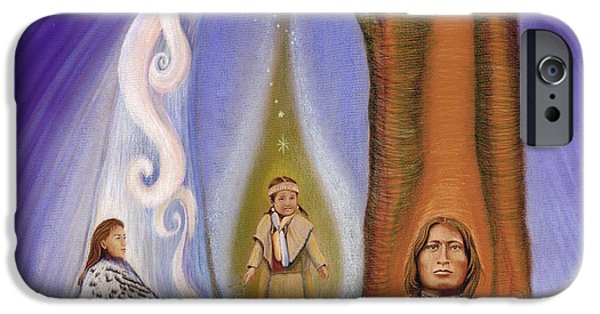 Native American Spirit Portrait iPhone Cases - Drawing Family Together iPhone Case by Robin Aisha Landsong