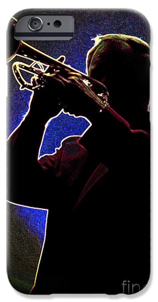 Business Drawings iPhone Cases - Drawing of a Silhouette of Trumpet Player in Color 3019.03 iPhone Case by M K  Miller