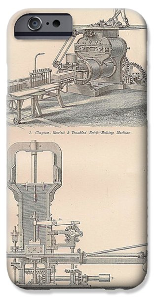 Mechanism Drawings iPhone Cases - Drawings of a brick making machine iPhone Case by Anon