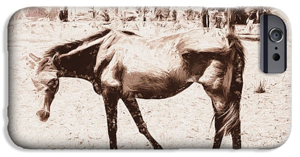 Purebred Digital Art iPhone Cases - Drawn ranch horse iPhone Case by Ryan Jorgensen