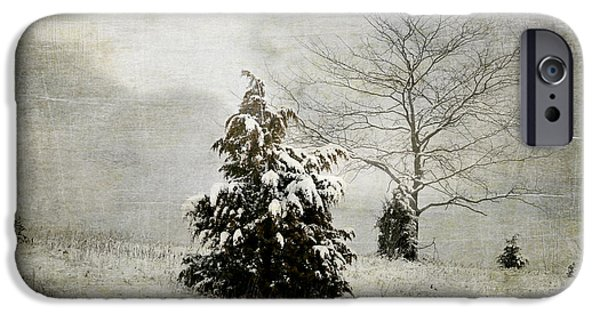 Winter Storm Digital iPhone Cases - Dread of Winter iPhone Case by Julie Palencia