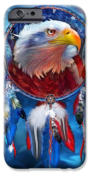 Independence Day Mixed Media iPhone Cases - Dream Catcher - Eagle Red White Blue iPhone Case by Carol Cavalaris