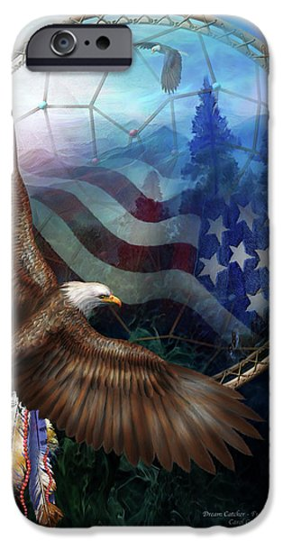 Eagle iPhone Cases - Dream Catcher - Freedoms Flight iPhone Case by Carol Cavalaris
